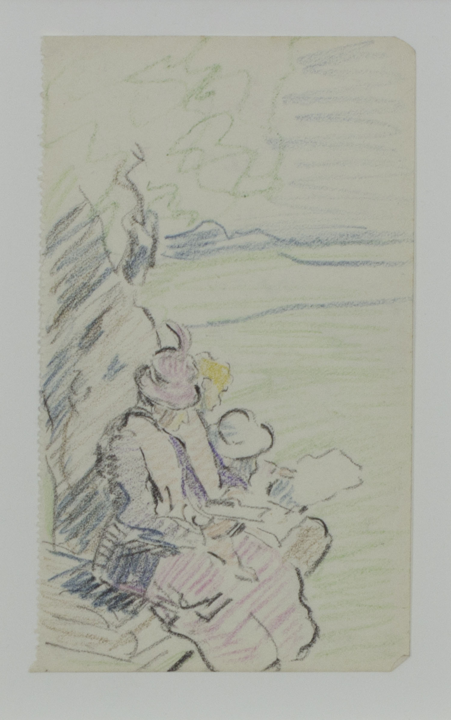 Mary Swanzy 'Sketching Party' c. 1905 coloured pencil drawing 14x9cm.jpg