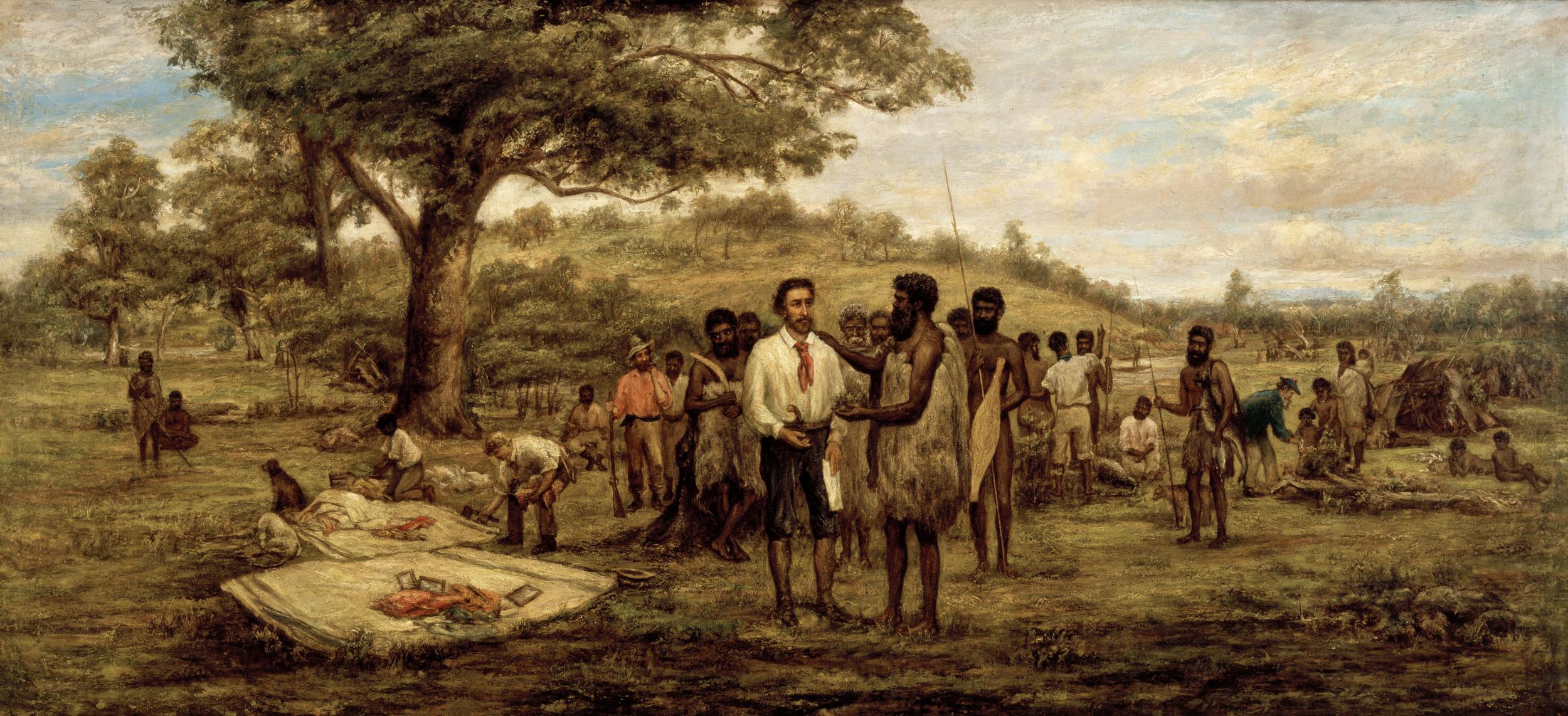 Batman's Treaty with the Aborigines at Merri Creek by John Wesley Burtt, circa 1875.
