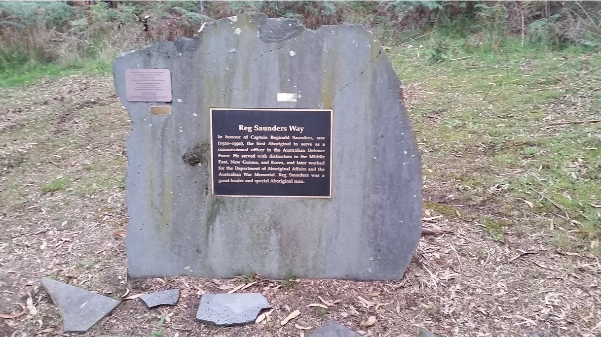 Reg Saunders' memorial.