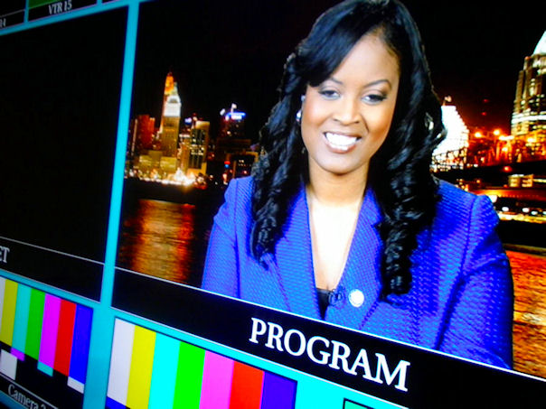 hio State Representative Alicia Reece before filming begins for her live interview with Rev. Al Sharpton on Politics Nation on MSNBC. Makeup by Chenese Bean