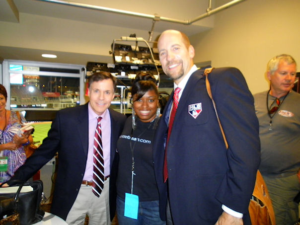 Cincinnati makeup artist Chenese Bean on set with Bob Costas and John Smoltz at the  Reds vs. Cardinals game 2012.