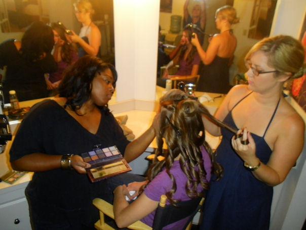 Hair & makeup tag team! On set with hair stylist  Sarah Stear .