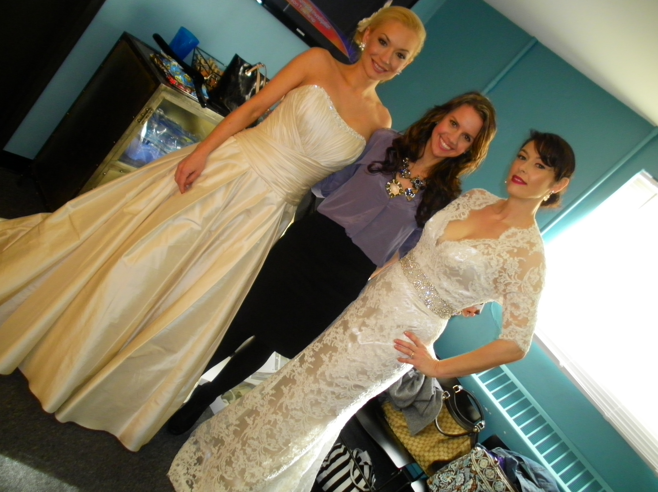 "On set of :Living Dayton"" at the WDTN channel 2 news station.   Lindsay Fork owner of LUXEredux and La Jeune Mariee Bridal posing with the models from the show."