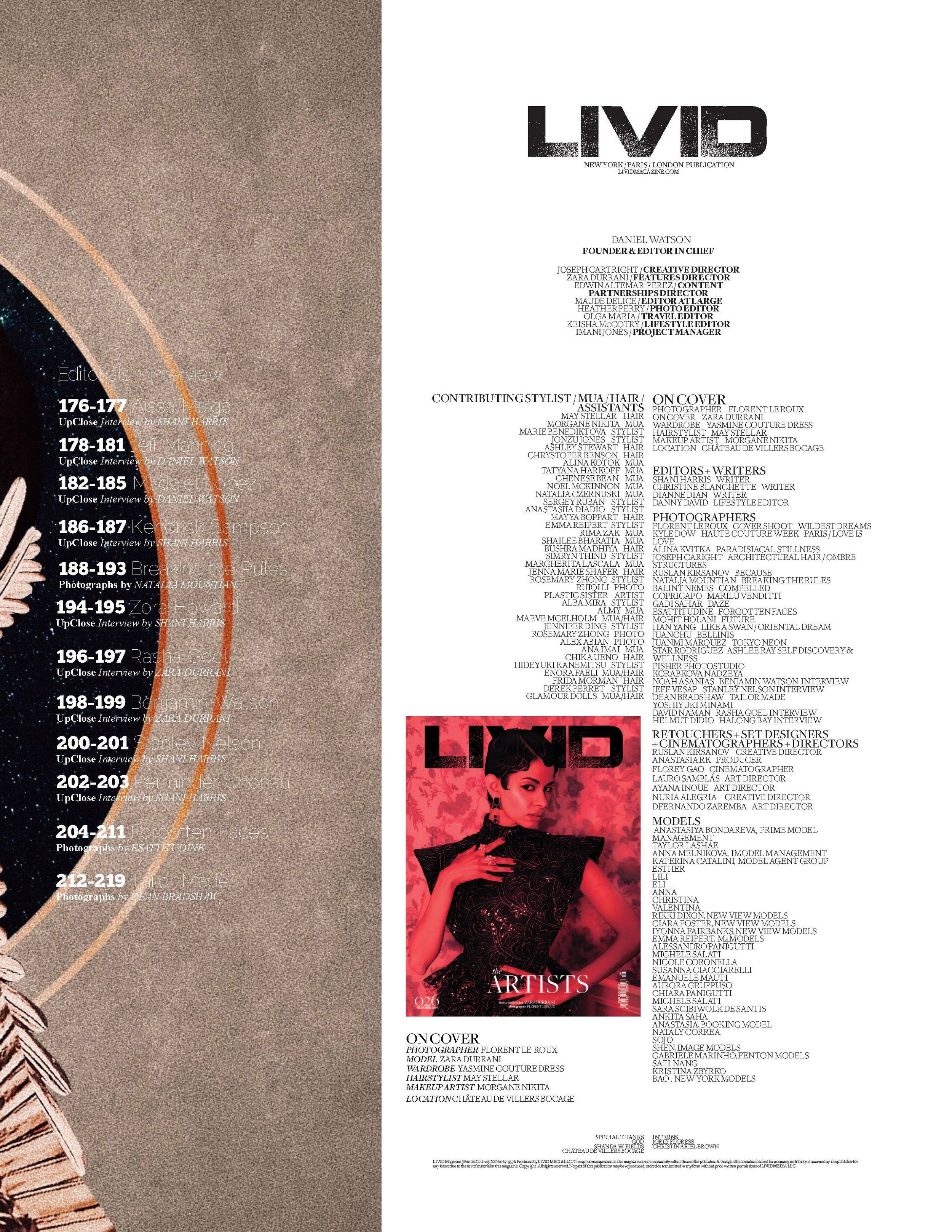 "Livid Magazine ""The Artists"" Summer Edition #26"