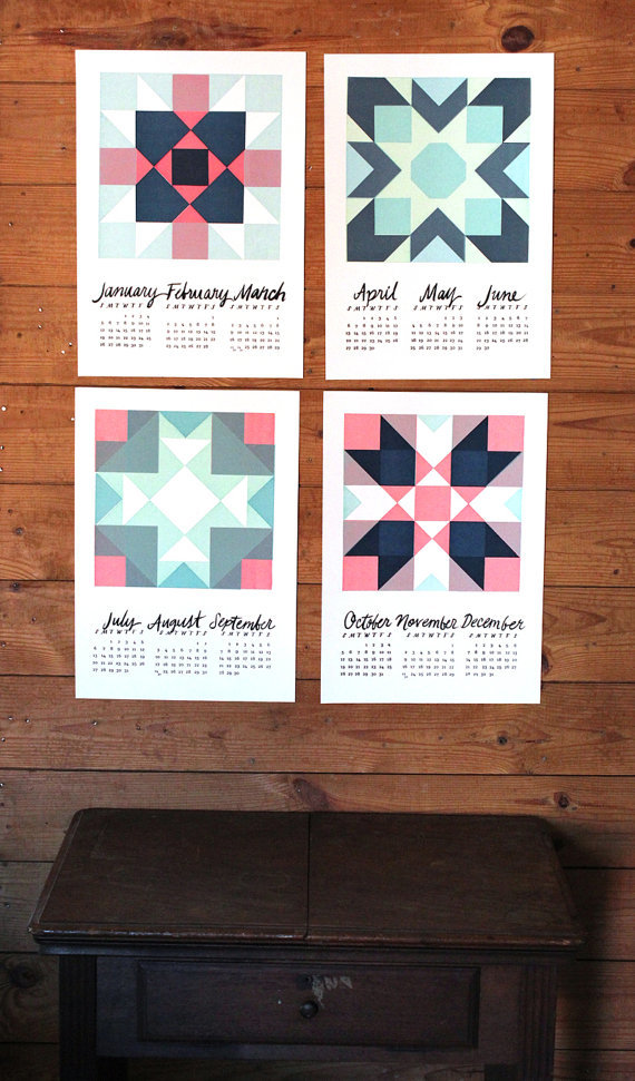 Geometry:  Illustrated, lettered, and screen printed meticulously by hand, this is just one of many original 2014 calendars created by The Hungry Fox's Mikaela Fuchs in Durham, NC.  etsy.com/shop/thehungryfox