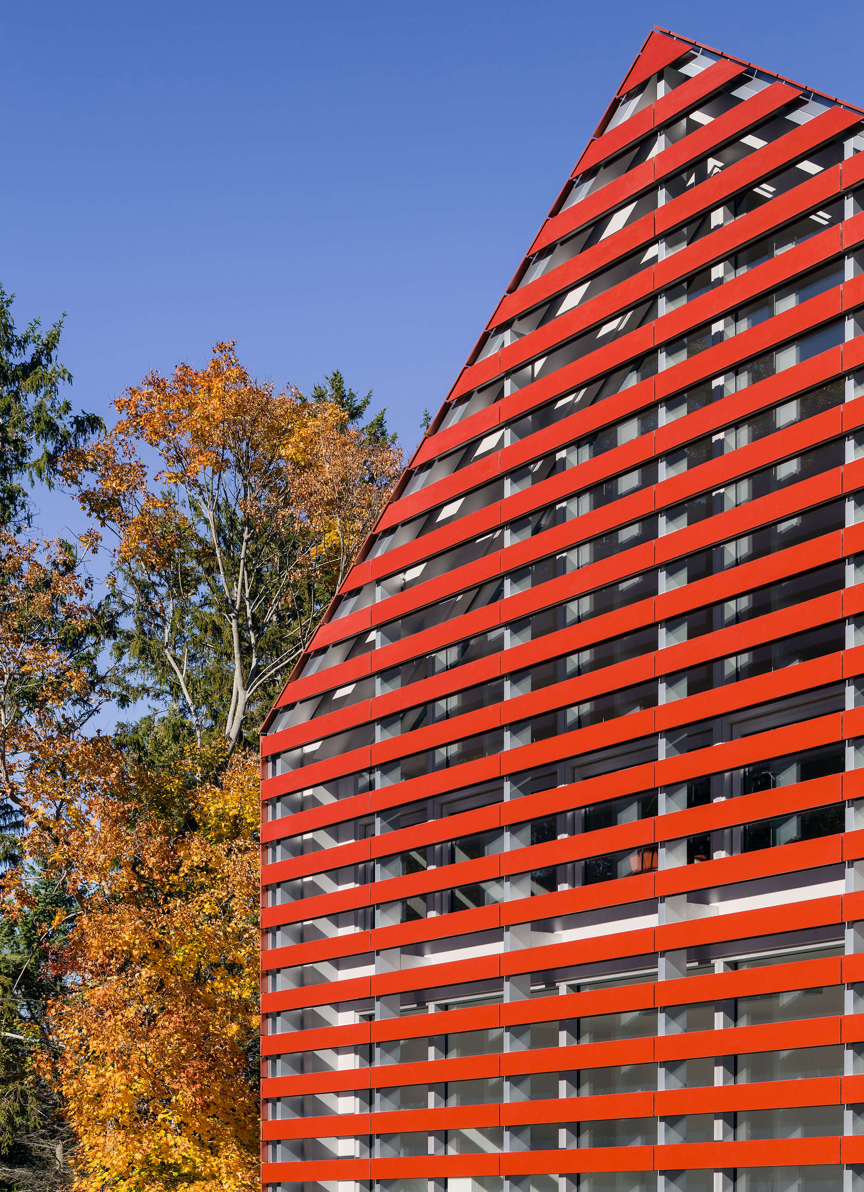 Facade detail of Red Barn designed by Roger Ferris + Partners