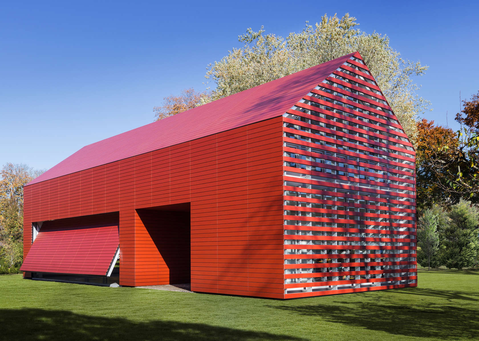 Overall view from other side of Red Barn designed by Roger Ferris + Partners