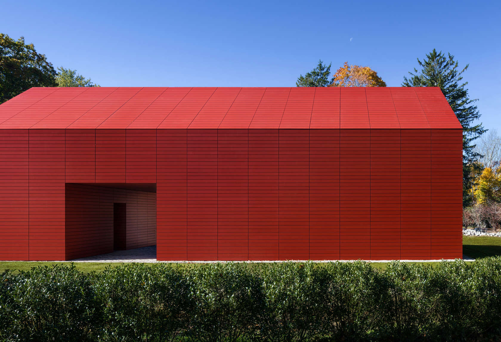 View of Red Barn's entrance designed by Roger Ferris + Partners