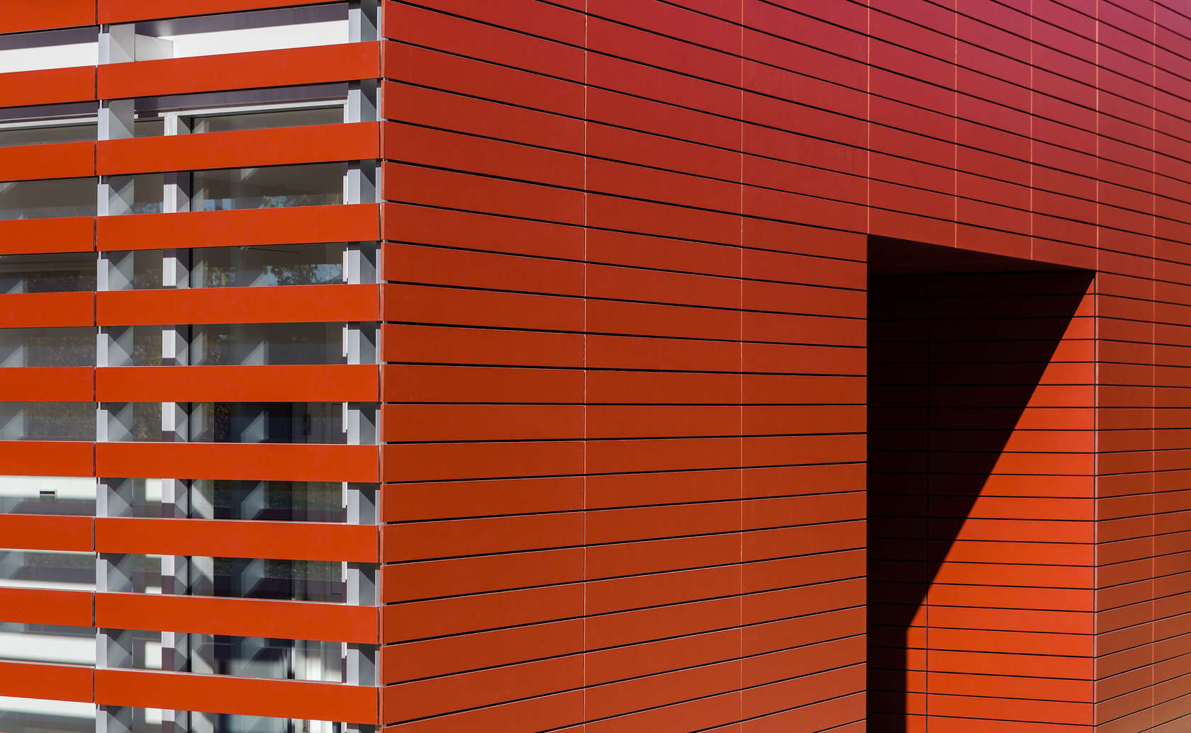Detail shot of Red Barn designed by Roger Ferris + Partners