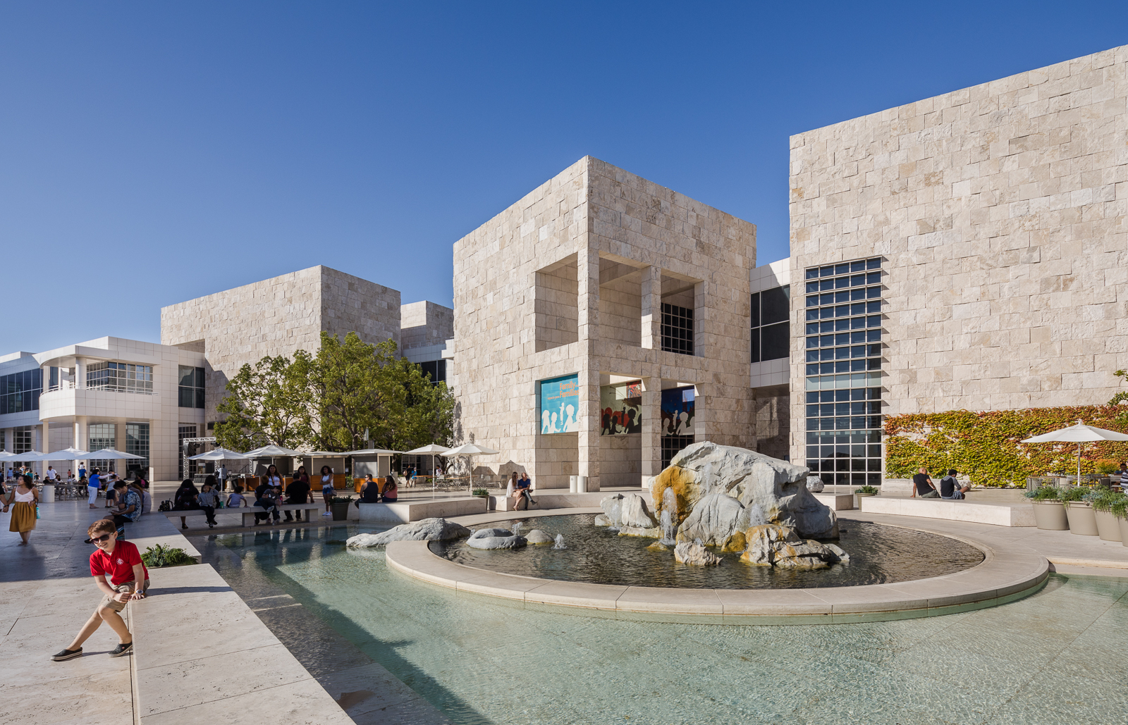 Exteriors and fountain of the Getty Center museum, in Los Angeles, California, US