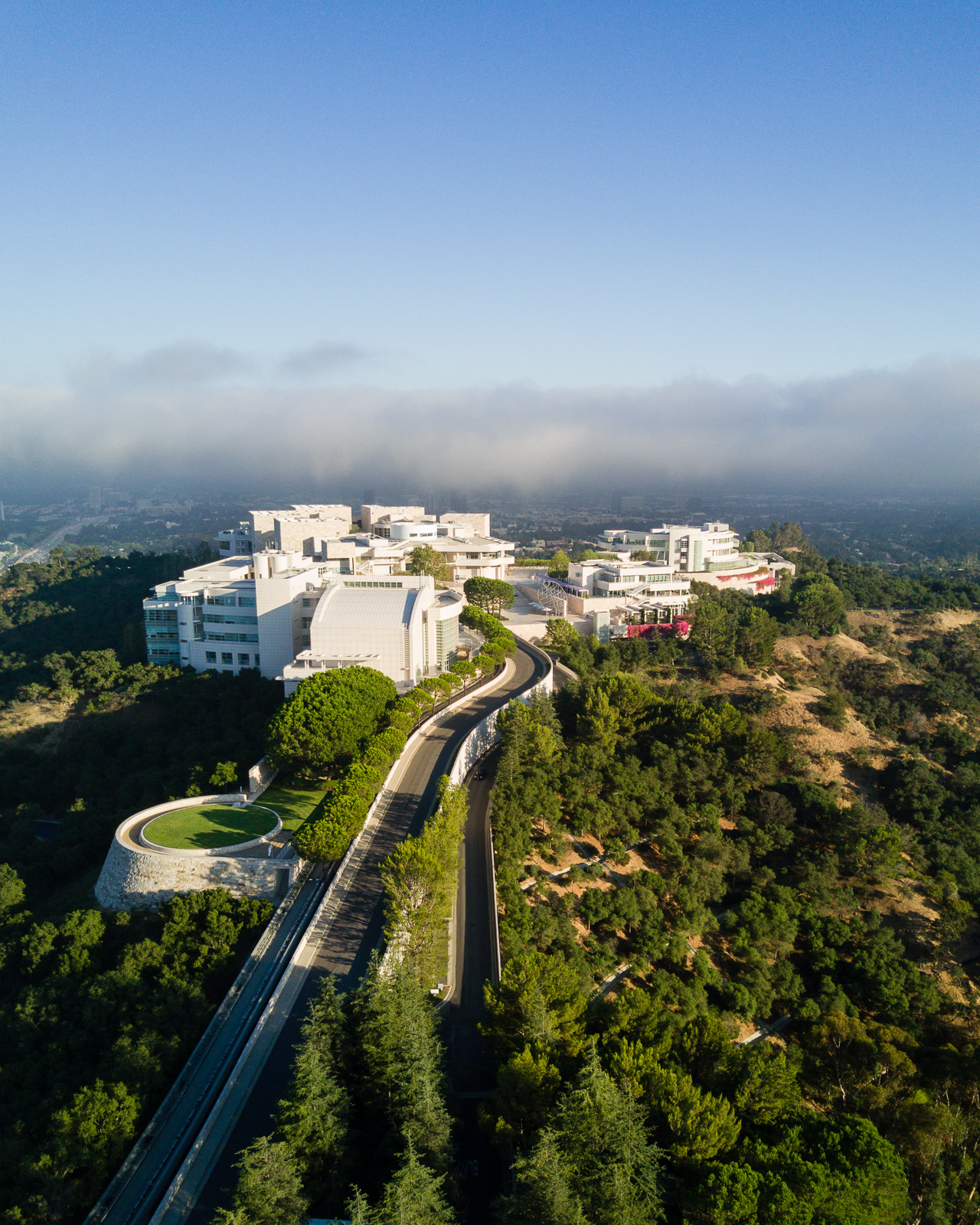 Aerial view of the Getty Center in Brentwood designed by Richard Meier