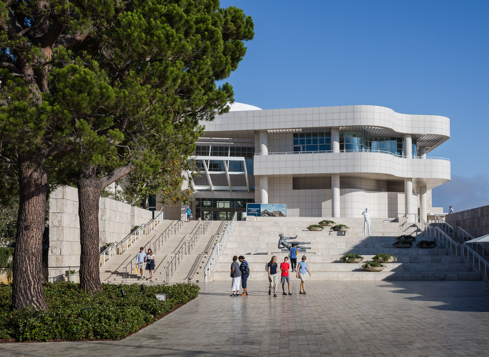 People visiting the Getty Center museum designed by architect Richard Meier in 1997