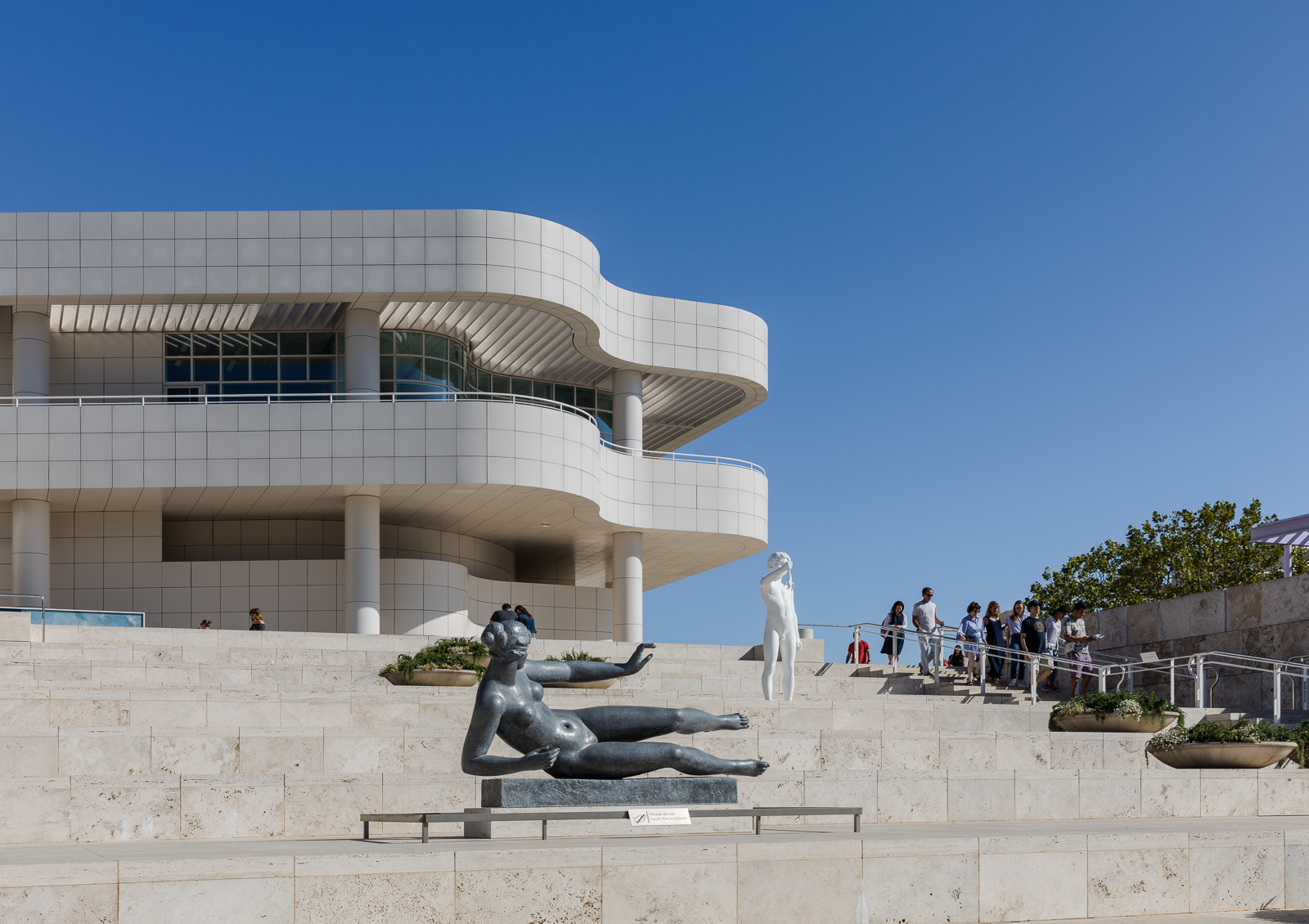 Sculptures in front of the Getty Center in Los Angeles