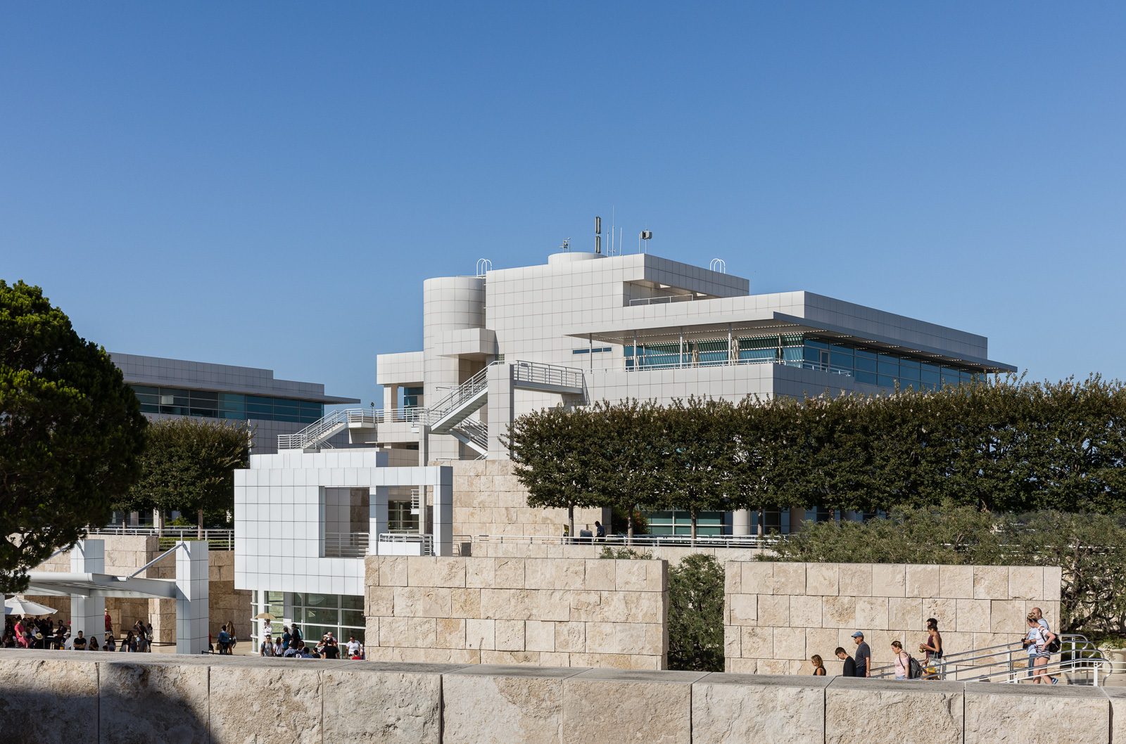Design elements of the Getty Center designed by Richard Meier