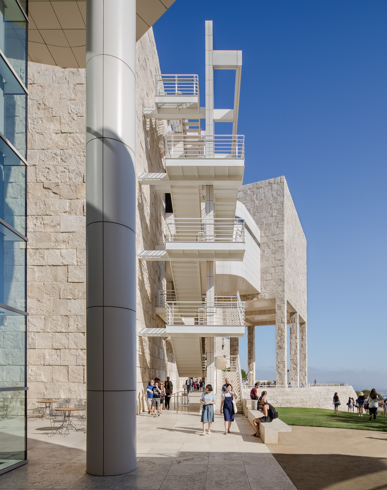 Exteriors and terraces of the Getty Center museum in Los Angeles
