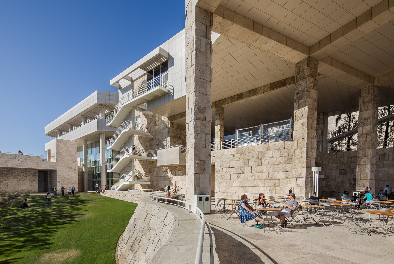 Exteriors and terraces of the Getty Center museum, in Los Angeles, California, United States