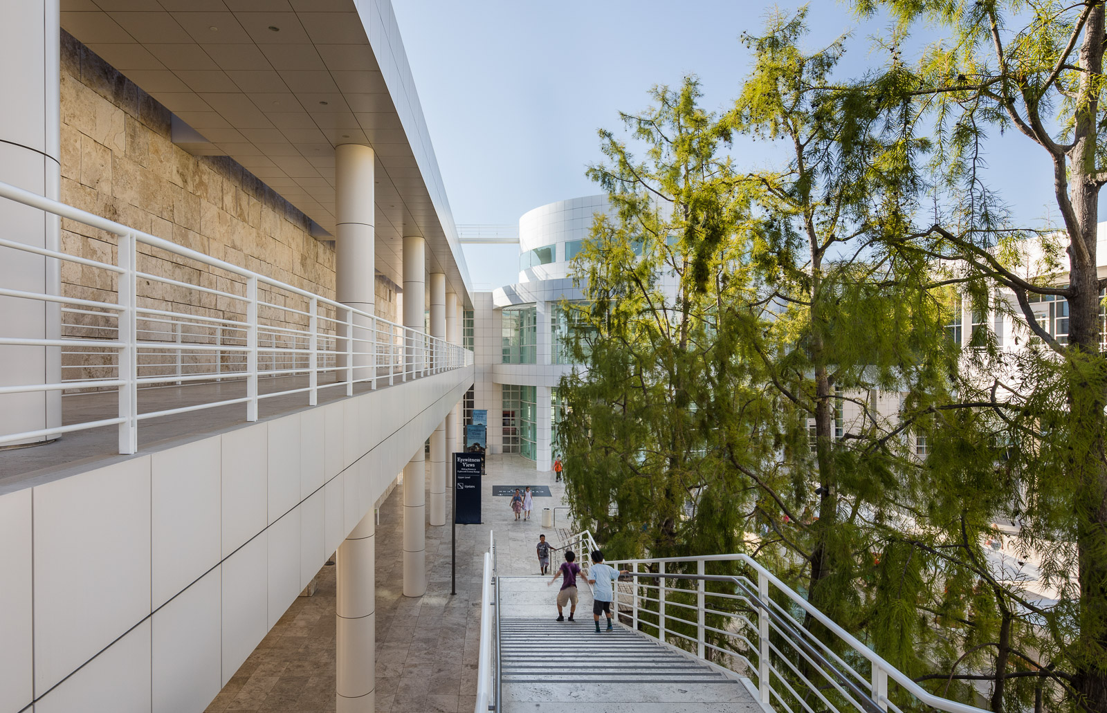 Exterior architecture of the Getty Center museum in Los Angeles