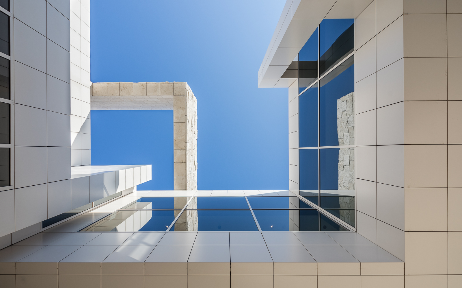 Looking up at the facade of the Getty Center designed by Richar Meier