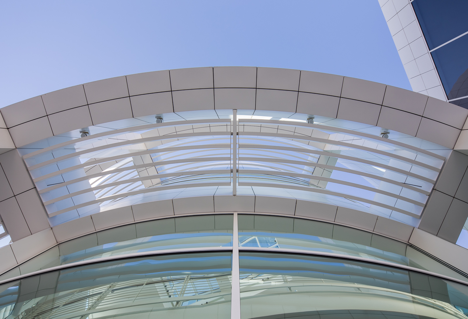 Looking up at the facade of the Getty Center designed by Richard Meier