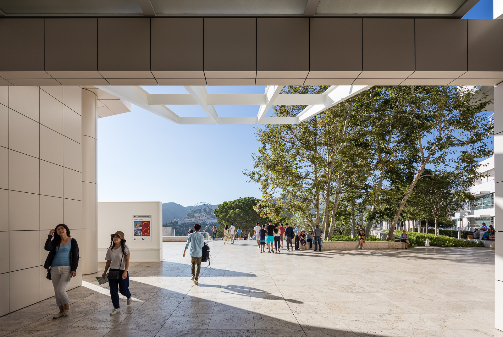 Exteriors and terraces of the Getty Center museum in Los Angeles, California