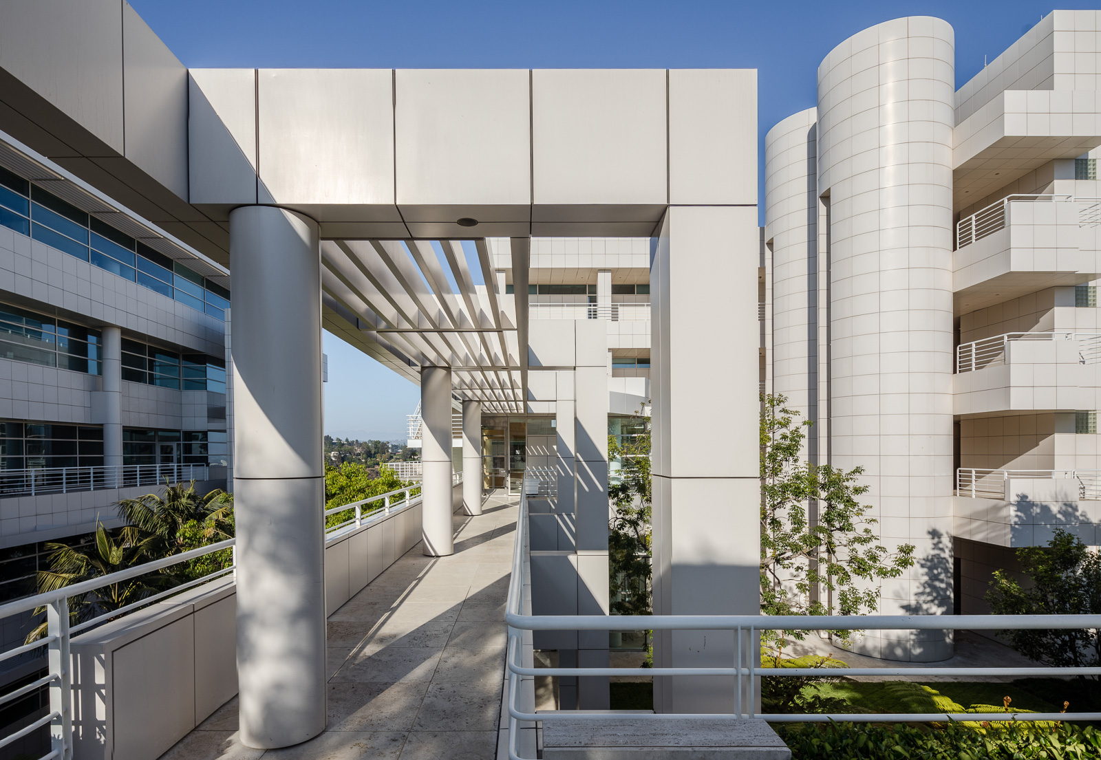 Architectural elements of the Getty Museum in California