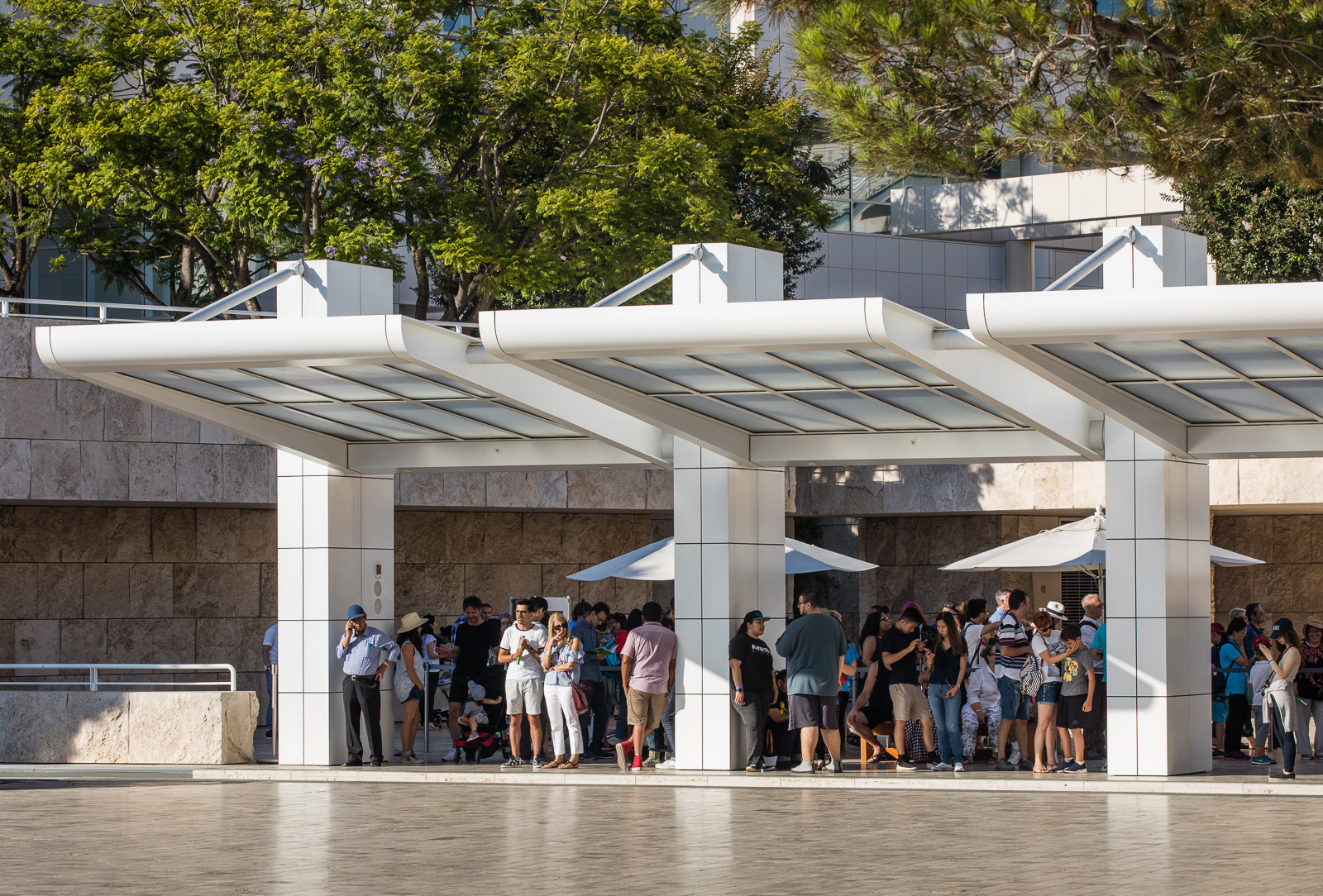 People visitting the Getty Museum designed by Richard Meier
