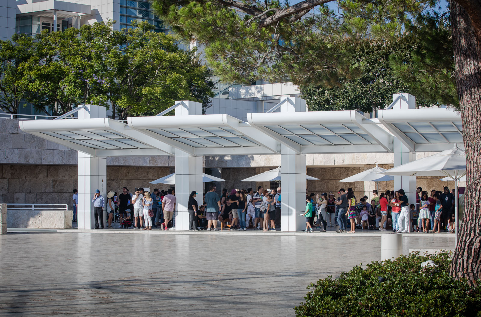 People visitting the Getty Museum in California