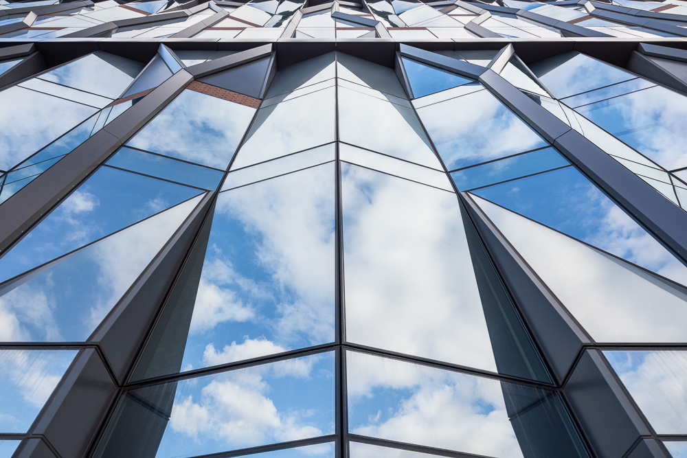 Looking up at the facade of the 10 Jay St designed by ODA Architecture
