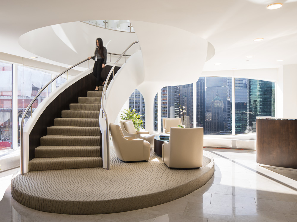 Gorgeous staircase at 450 Park Avenue owned by Oxford Properties Group