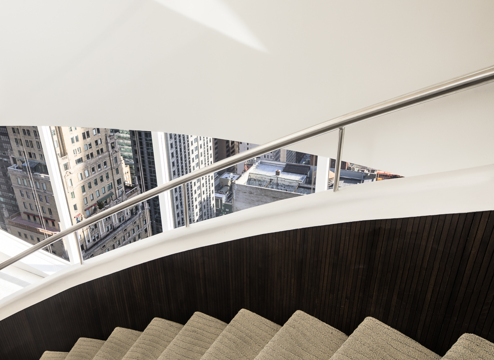 Gorgeous staircase detail at 450 Park Avenue owned by Oxford Properties Group