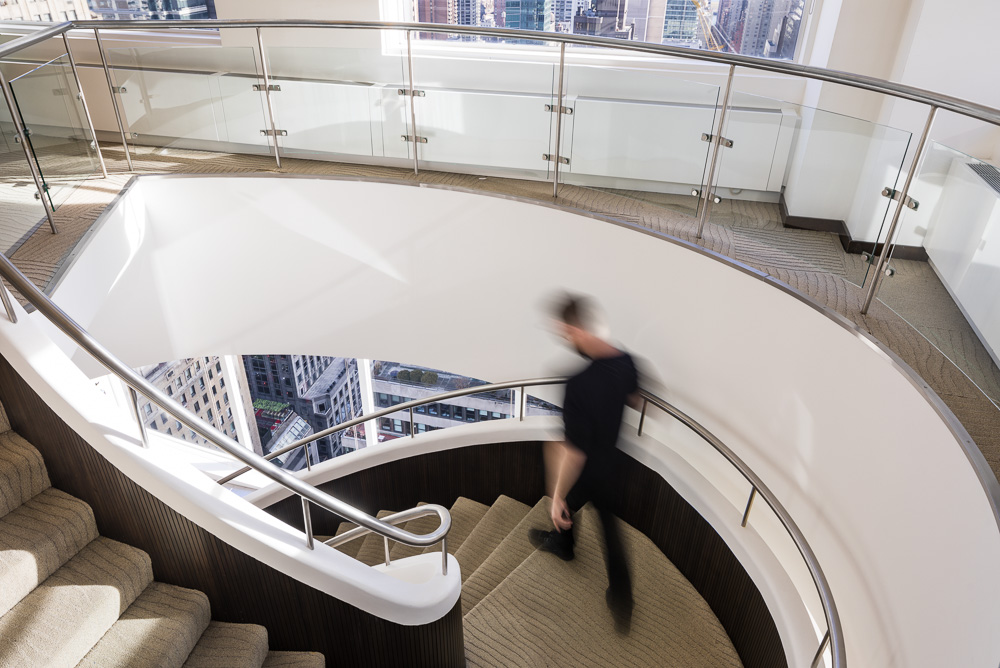 The staircase at 450 Park Avenue owned by Oxford Properties Group