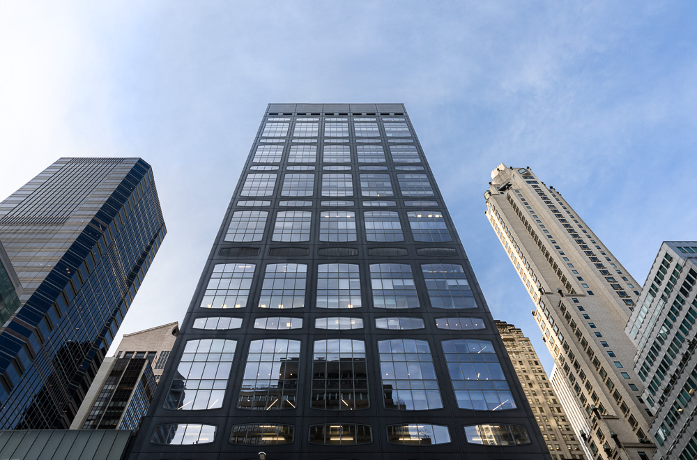 Looking up at 450 Park Avenue owned by Oxford Properties Group