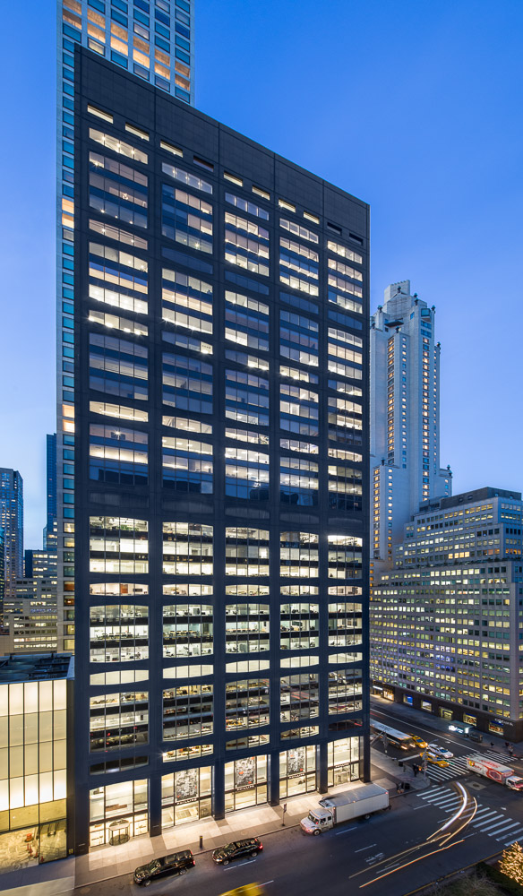 At dusk 450 Park Avenue owned by Oxford Properties Group