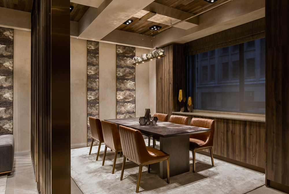 Client's area at Avi & Co showroom designed by Seed Design New York