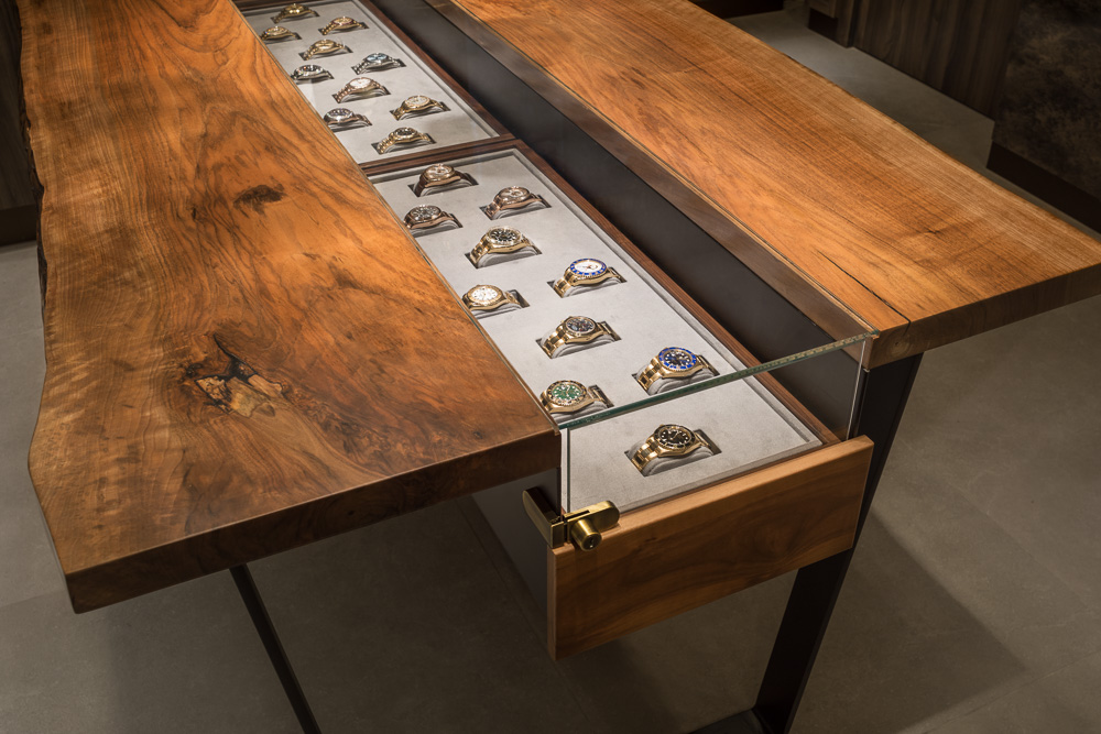 Details of the custom table top displays at Avi & Co showroom designed by Seed Design New York