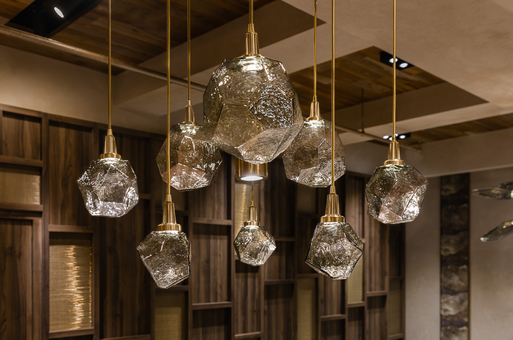 Details of the custom made chandelier at Avi & Co showroom designed by Seed Design New York