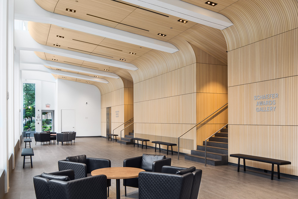 Lobby at the Alumni Auditorium at Columbia University Medical Center designed by MdeAS Architects