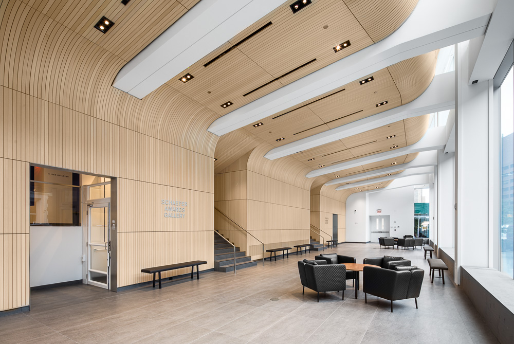 Lobby view at the Alumni Auditorium at Columbia University Medical Center designed by MdeAS Architects