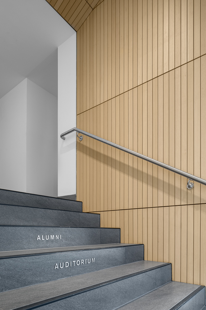Staircase at the Alumni Auditorium at Columbia University Medical Center designed by MdeAS Architects
