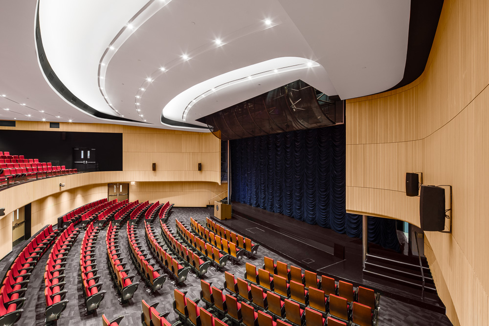 Inside at the Alumni Auditorium ceiling details at Columbia University Medical Center designed by MdeAS Architects