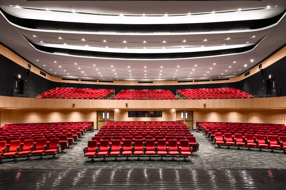 Looking at the Auditorium from the stage at Columbia University Medical Center designed by MdeAS Architects