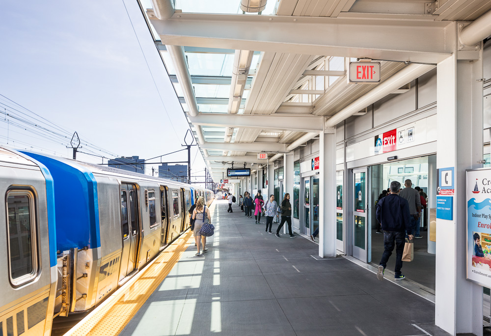 Platform at PATH Harrison Station designed by Dattner Architects