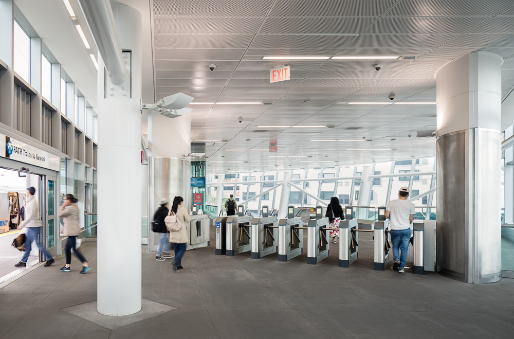 Interiors at PATH Harrison Station designed by Dattner Architects