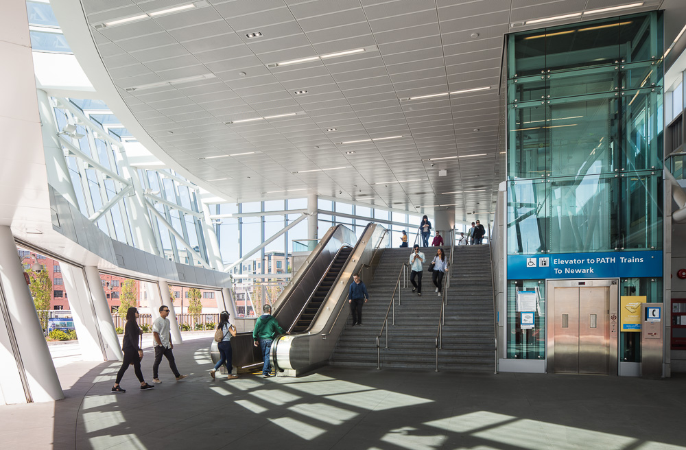 Lower level of the PATH Harrison Station designed by Dattner Architects