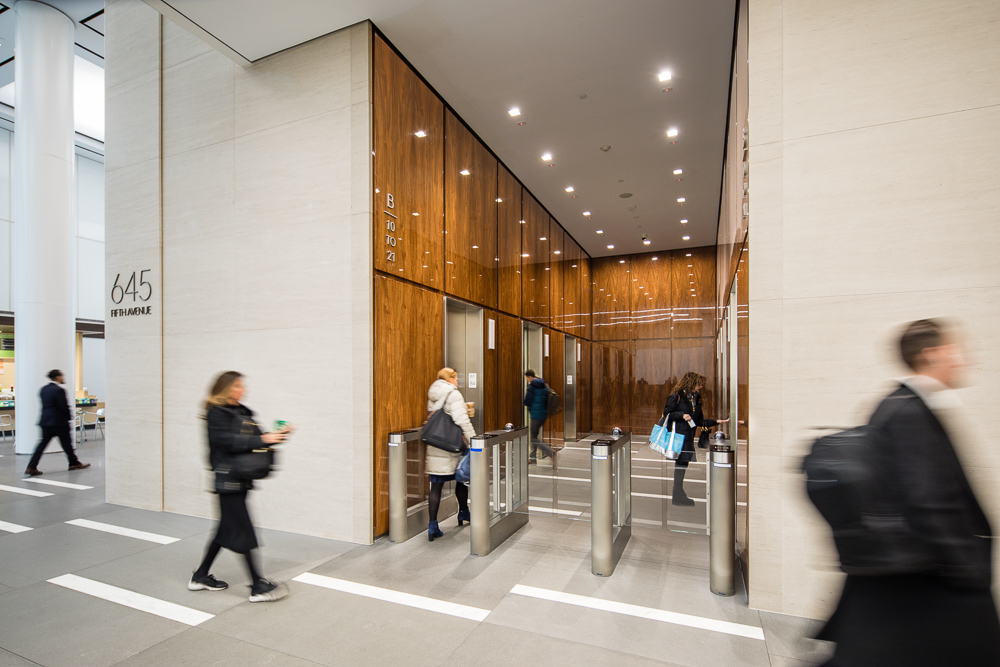 Renovated elevator lobby at Olympic Tower owned by Oxford Property Group