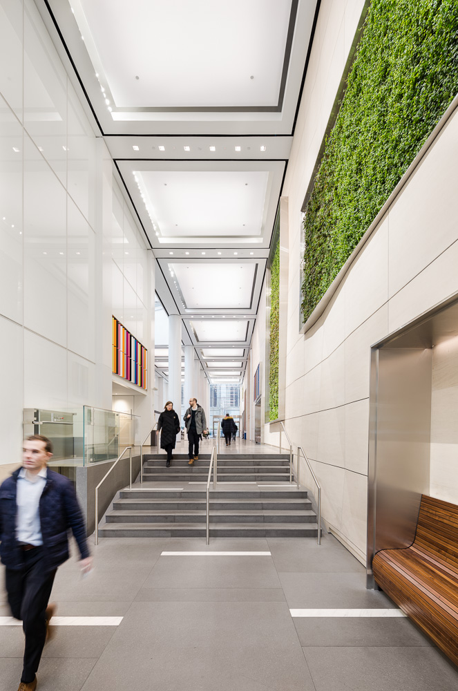 Renovated lobby by MdeAS at Olympic Tower owned by Oxford Property Group