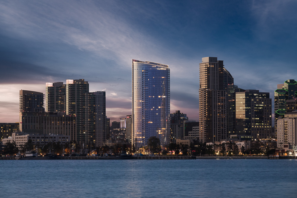 Pacific Gate designed as a landmark tower and gateway to downtown San Diego