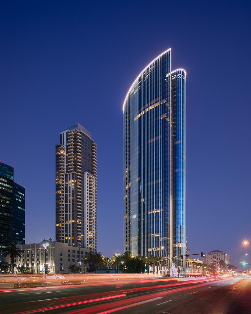 Night view of the Pacific Gate designed by KPF Architects