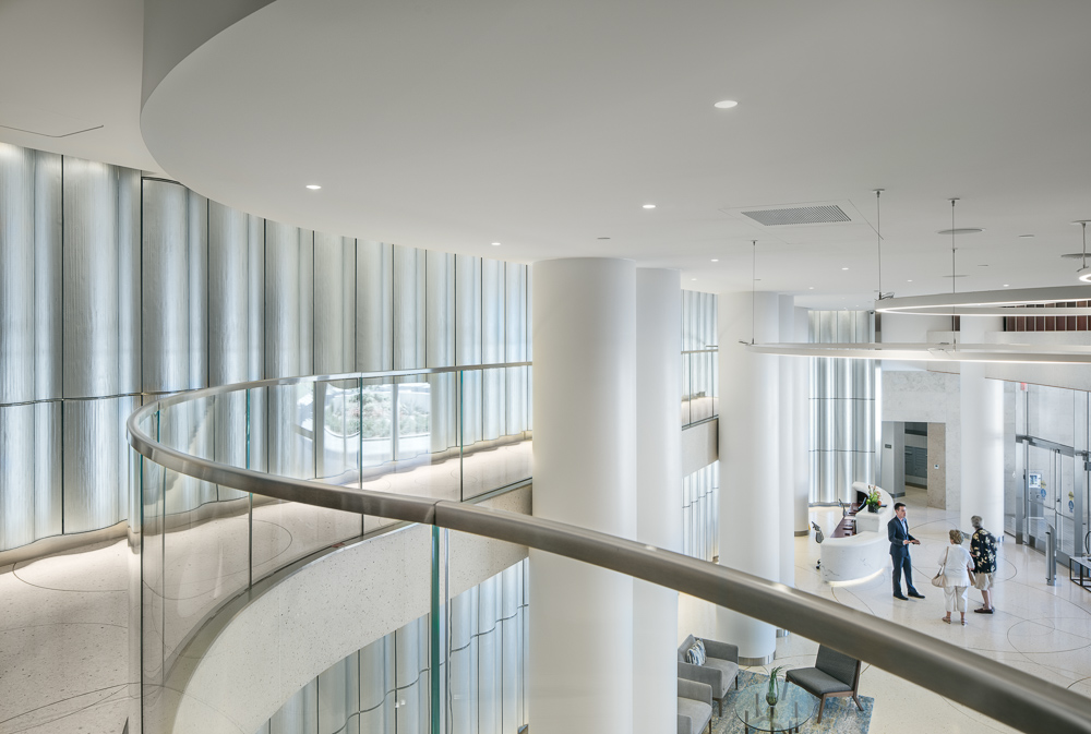 Interior details of the lobby at the Pacific Gate designed by KPF
