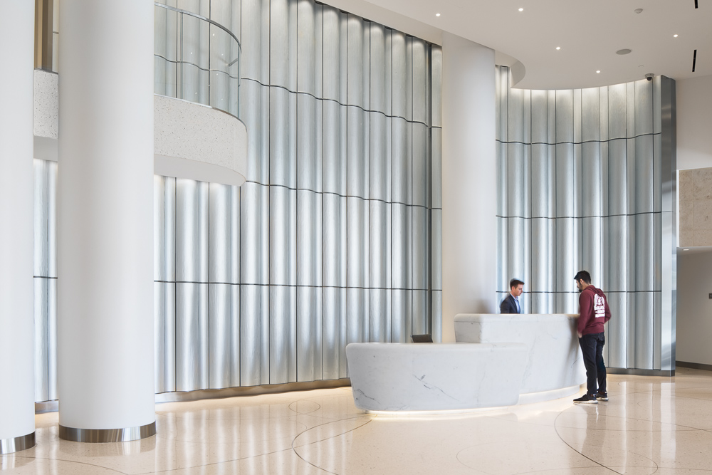 Custom designed reception desk at the lobby of the Pacific Gate Tower
